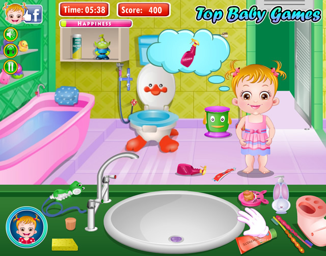 jouer b b hazel nettoie la salle de bain jeux gratuits en ligne avec. Black Bedroom Furniture Sets. Home Design Ideas