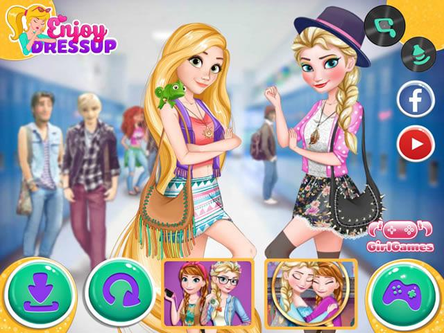 Jouer elsa et raiponce vont l 39 cole jeux gratuits en ligne avec - Jeux gratuit la reine des neige ...